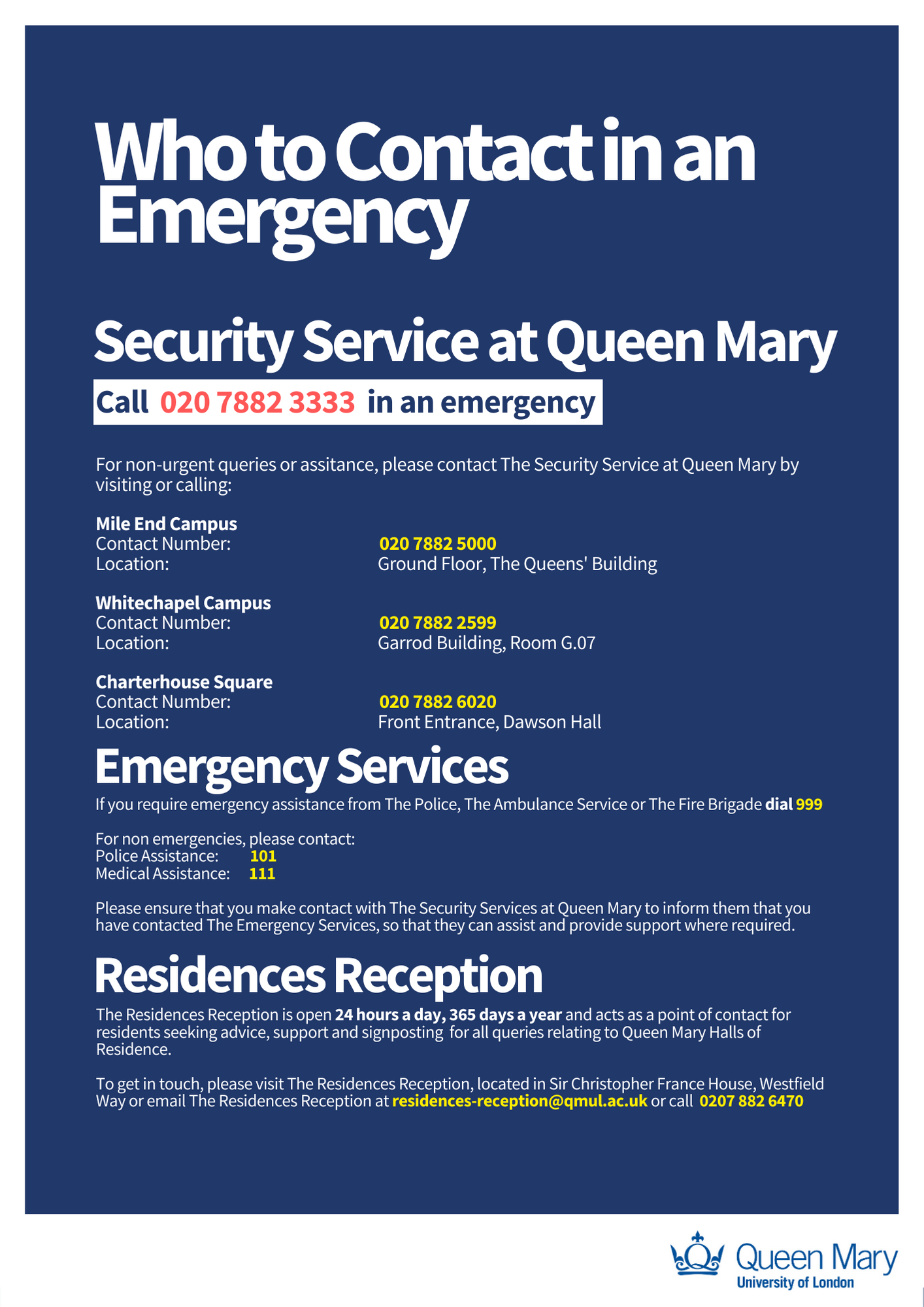 Contact details for emergencies