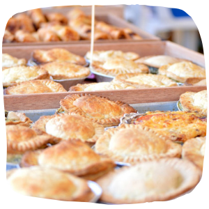 a close up of pies