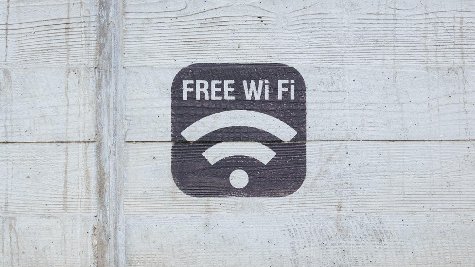 Free WiFi sign on a building