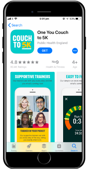 a screenshot of the Couch to 5k app on a cell phone