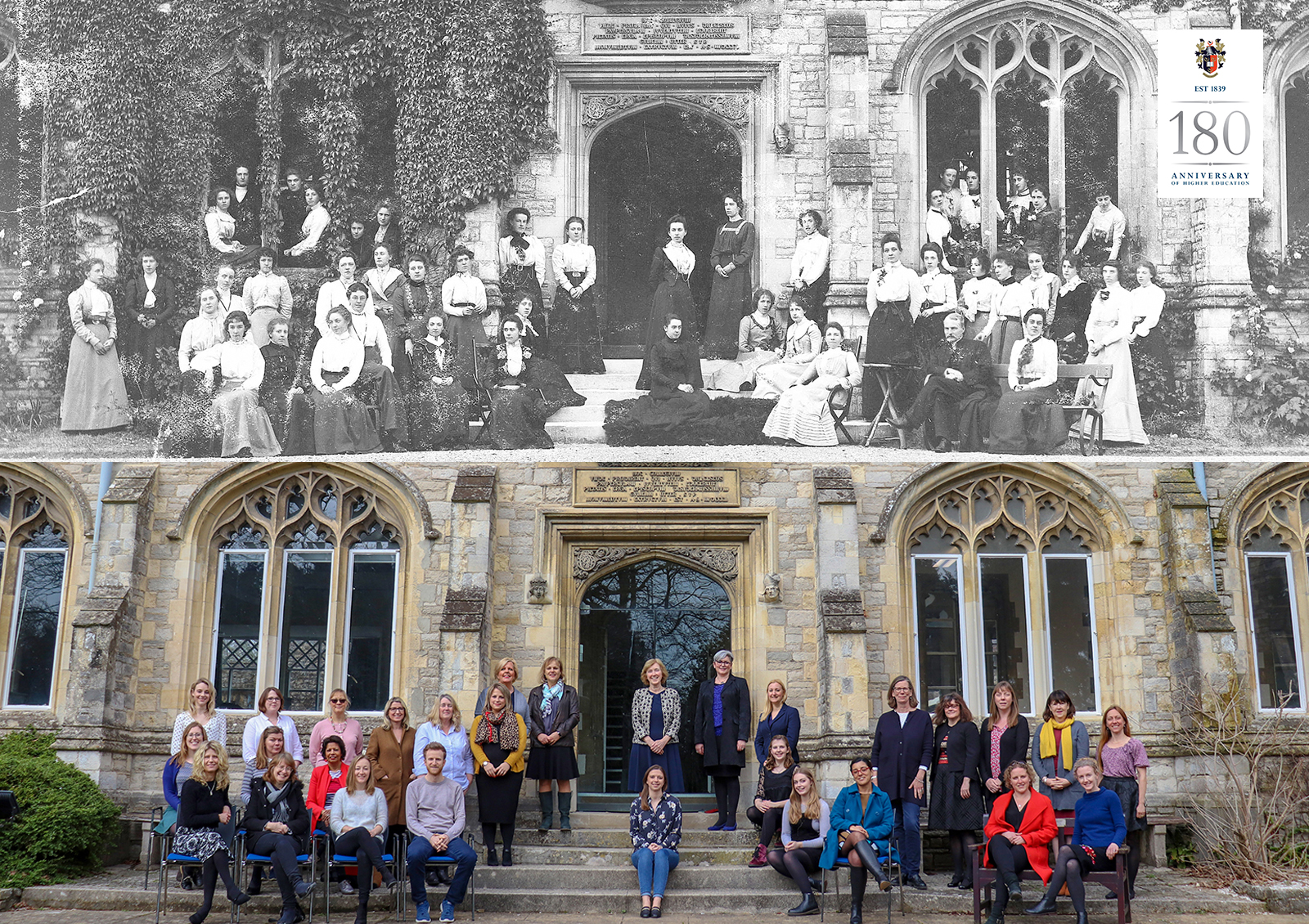 A photo outside Cloisters from 1839 recreated in 2019
