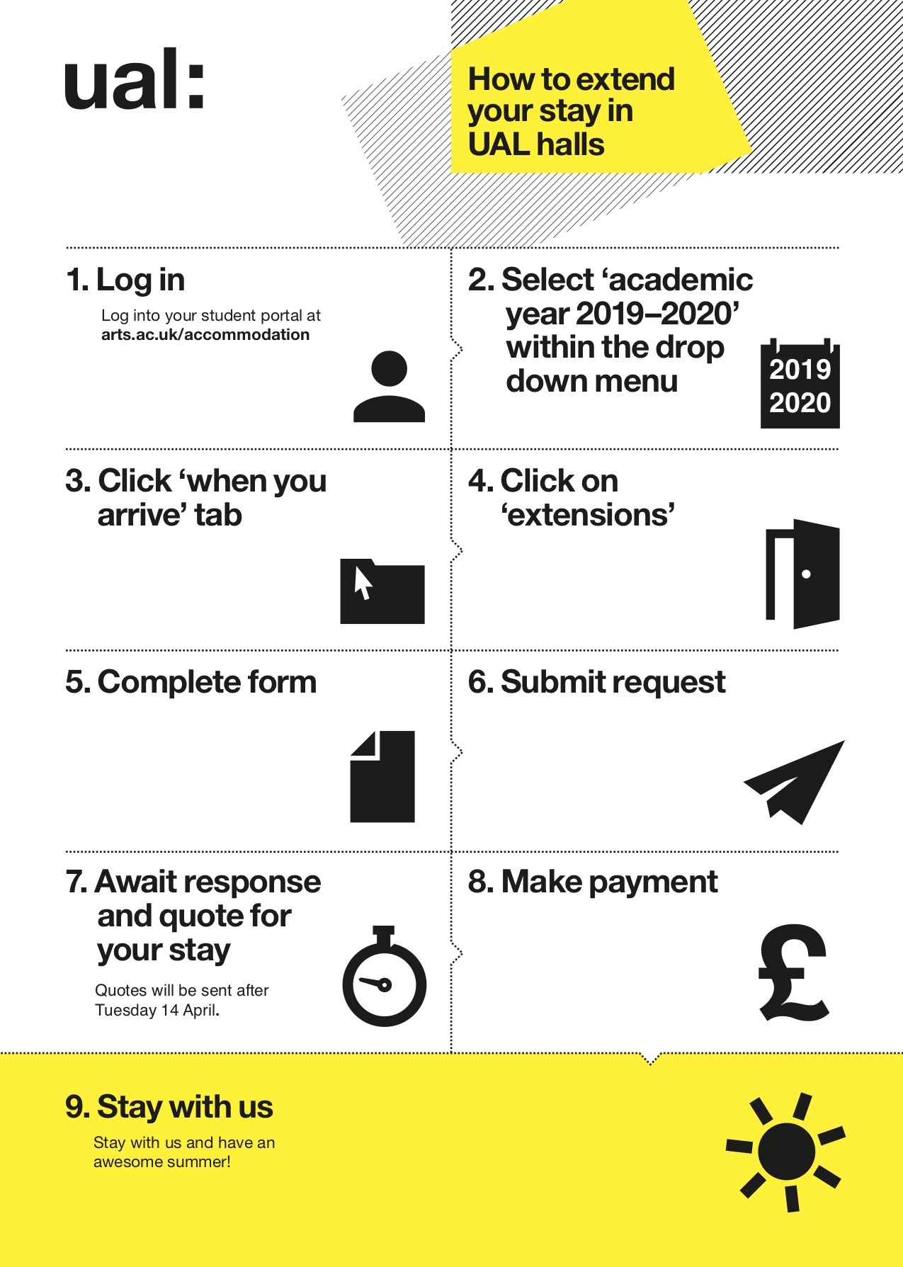 An infographic explaining how to extend your stay in halls