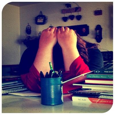 stressed girl at desk