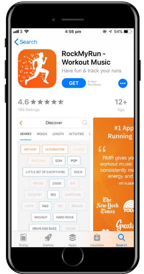 a screenshot of the RockMyRun app on a cell phone