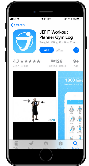 a screenshot of the Jefit app on a cell phone