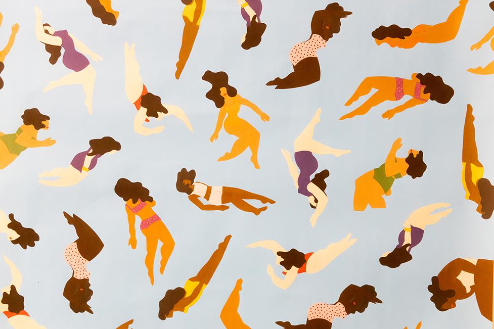 student artwork - women in bikinis