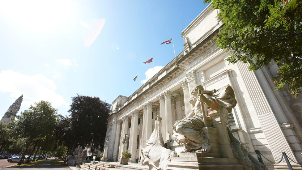 a picture of the main building at Cardiff University