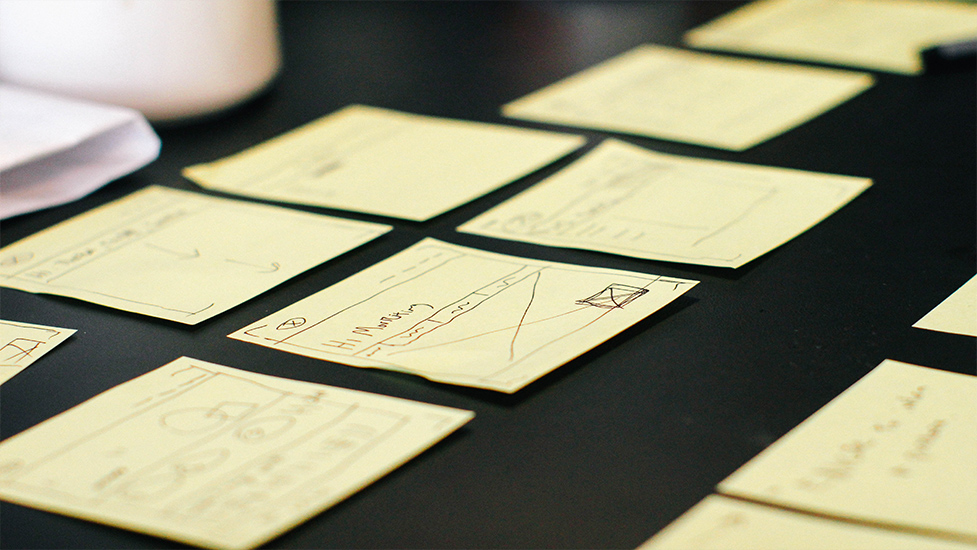 a close up of sticky notes