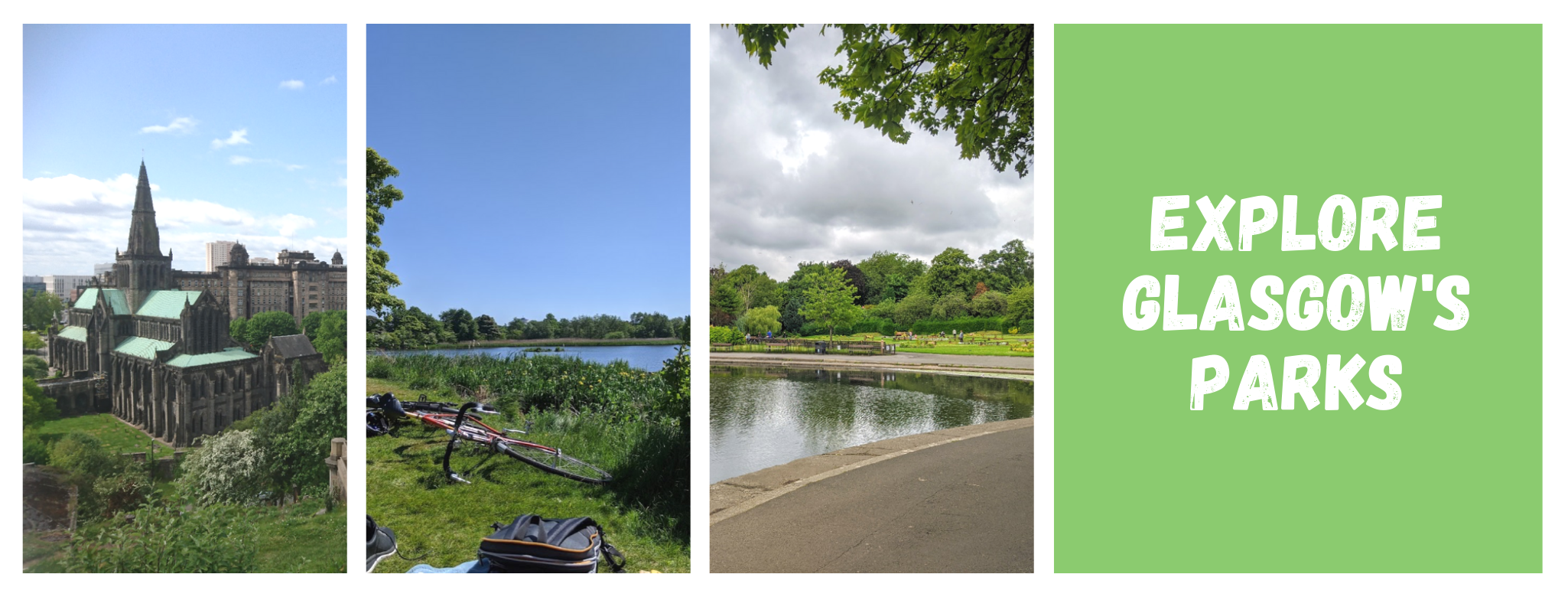 Three photos of Glasgow Parks