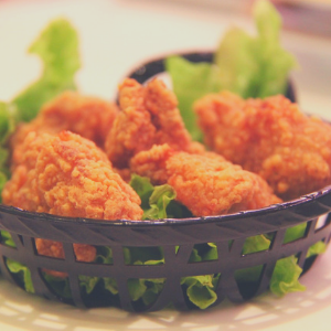 a close up of chicken strips